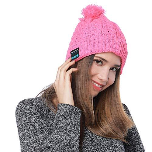 Shnmin Bluetooth Beanie Hat for Women Winter Warm Cap Hands Free Microphone & Stereo Wireless Headphone for Women (Pink)