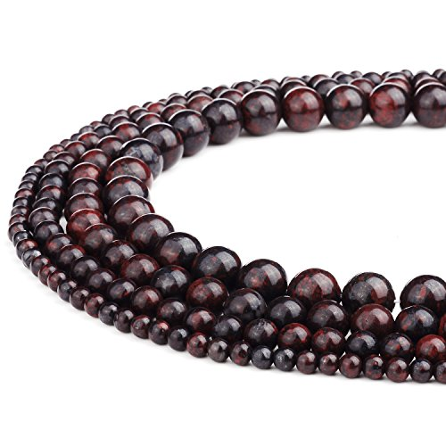 RUBYCA Natural Brecciated Jasper Gemstone Round Loose Beads Red for Jewelry Making 1 Strand - 10mm