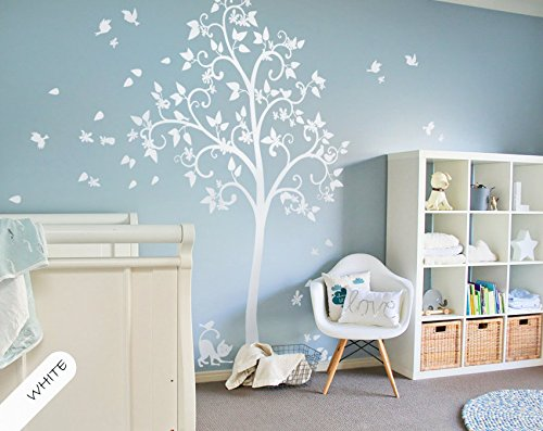 White Wall Stickers Art Decor Murals Scroll Branches Blossom