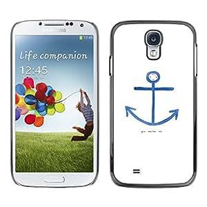 TopCaseStore / la caja del caucho duro de la cubierta de protección de la piel - Quote Seaman White Blue Sailor - Samsung Galaxy S4 I9500