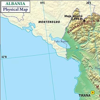 Amazoncom Albania Physical Map W X H Office Products - Albania physical map