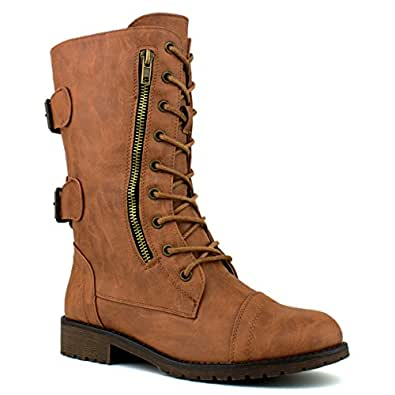 Top Moda Women's Pack-72 Lace Up Combat Boot, TPS Pack Tan Size 5.5