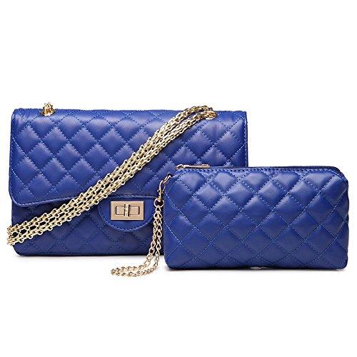 Quilted Gold Womens Cross Shoulder Fashion body Chain Bag Lock Blue3 Twist Large Handbag Plaid SwTqBSZr