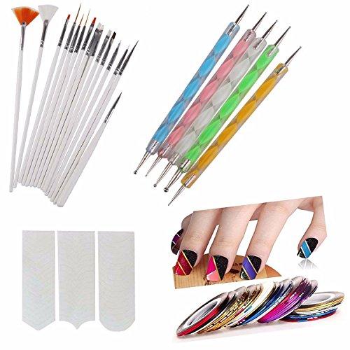 FOK Plastic Nail Art Paint Kit (Random Colour) – Set of 31 Pieces