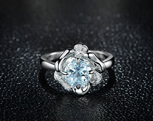 Solid 18k white gold promise ring,0.06ct SI-H Diamond Engagement ring,1.5ct Round Natural VVS blue Aquamarine,Prong (0.06 Ct Mens Diamond)