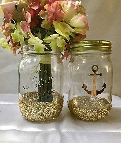 Amazon Com Set Of 2 Gold Glitter Mason Jars Centerpieces Nautical