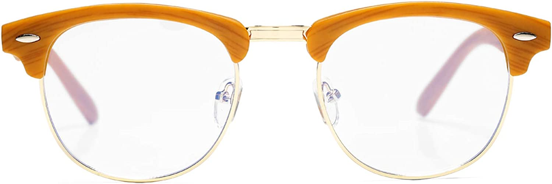 AZORB Retro Blue Light Blocking Glasses Semi-Rimless Clear Lens Computer Eyeglasses Frame Horn Rimmed