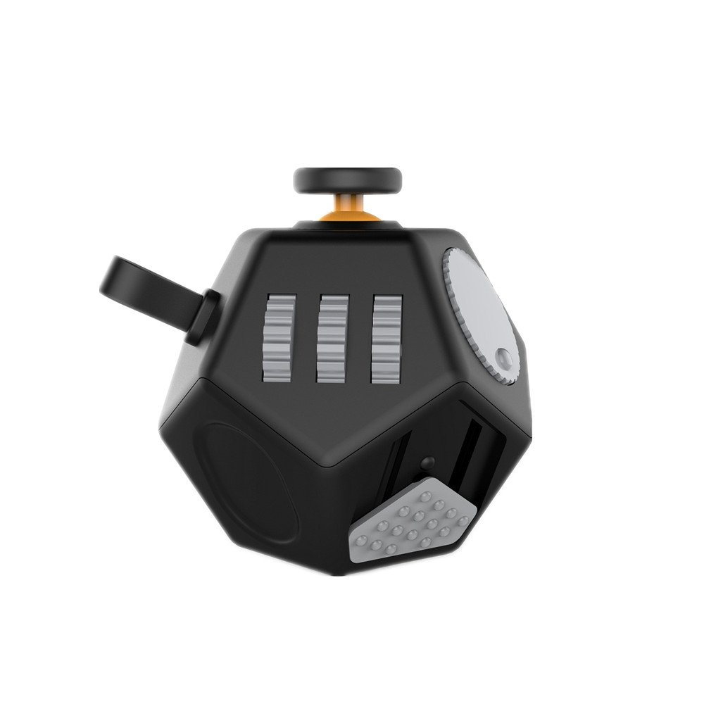 Minilopa Fidget Dodecagon 12 Side Fidget Toy Cube Small Size Cube Relieves Stress and Anxiety Anti Depression Cube for Children and Adults (E1 Small Black)