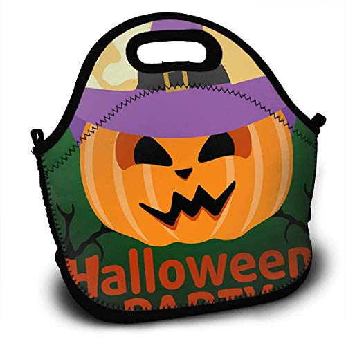 Insulated Neoprene Lunch Bag Removable Shoulder Strap Reusable Thermal Lunch Tote Bag For Adults,Teens,Boys,Girls,Kids,Baby-Lunch Boxes For Outdoor,Office,School - Halloween Party Banner with Pumpkin