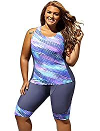 1e12e983e10 Women Plus Size Surf Swimwear Rash Guard Swim Capris Tankini Swimsuit S-5XL