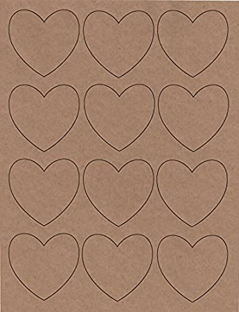 photo about Printable Heart Shaped Labels titled Centre Fashioned Labels, Laser/InkJet, 2.5 Inch, Kraft Paper, Pack of 144 stickers