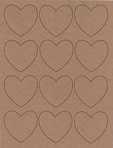 Heart Shaped Labels, Laser/InkJet, 2.5 Inch, Kraft Paper, Pack of 144 stickers by BonBon Paper