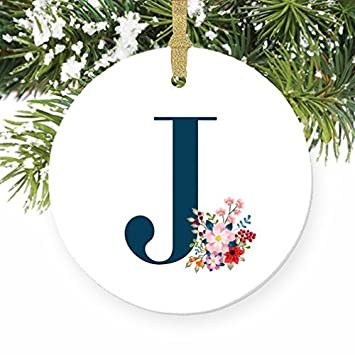 letter j girls name j initial christmas monogram ornaments wedding anniversary christmas keepsake xmas tree decorations