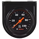 "Bosch SP0F000052 Style Line 2"" Mechanical Oil Pressure Gauge (Black Dial Face, Black Bezel)"