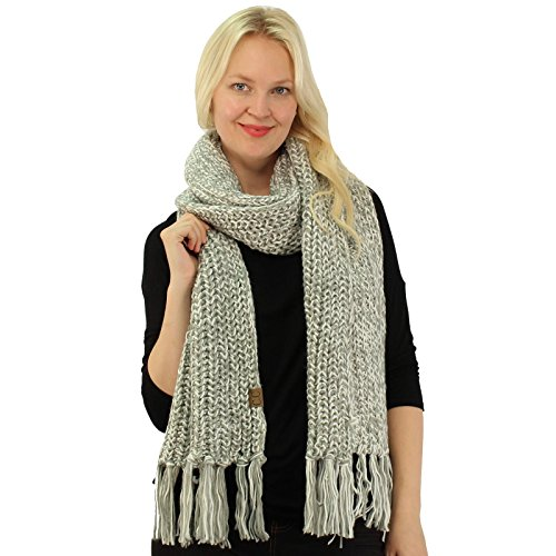 CC 2tone Mix Knit Soft Super Chunky Thick Long Big Large Cowl Fringe Scarf Ivory
