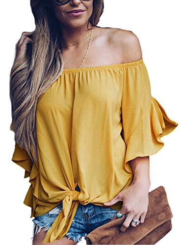 FARYSAYS Women's Solid 3/4 Bell Sleeve Off The Shoulder Front Tie Knot T Shirt Tops Blouse Yellow X-Large