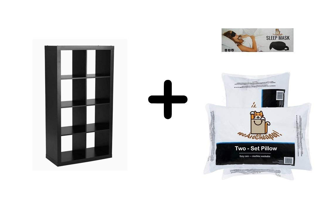 Better Homes Gardens 8 Cube Storage Organizer, Solid Black with 2 Exclusive Pillows and 1 Sleeping Mask