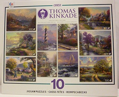(10 in 1 Deluxe Collector's Edition Set of Jigsaw Puzzles from the Best Painter of Light, Thomas Kinkade's Colorful Landscapes, Beautiful Sunrises, Sunsets, Autumn & Spring River Scenes)