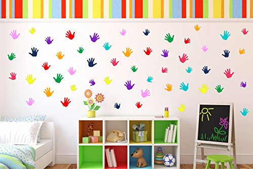 Colorful Hand Prints Wall Sticker | Wall Decal | Daycare Decor | Nursery Decor | Kids or Children Room Decor | Staircase Decor | Home Decor (18 Medium Handprints) ()