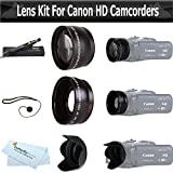 Wide Angle AND Telephoto Lens Kit For CANON VIXIA HF R82, HF R80, HF R800, HF R700, HF R72, HF R70 Camcorder Includes .43x Wide Angle Lens + 2.2x Telephoto Lens + Lens Hood + Lens Pen Kit + Much More