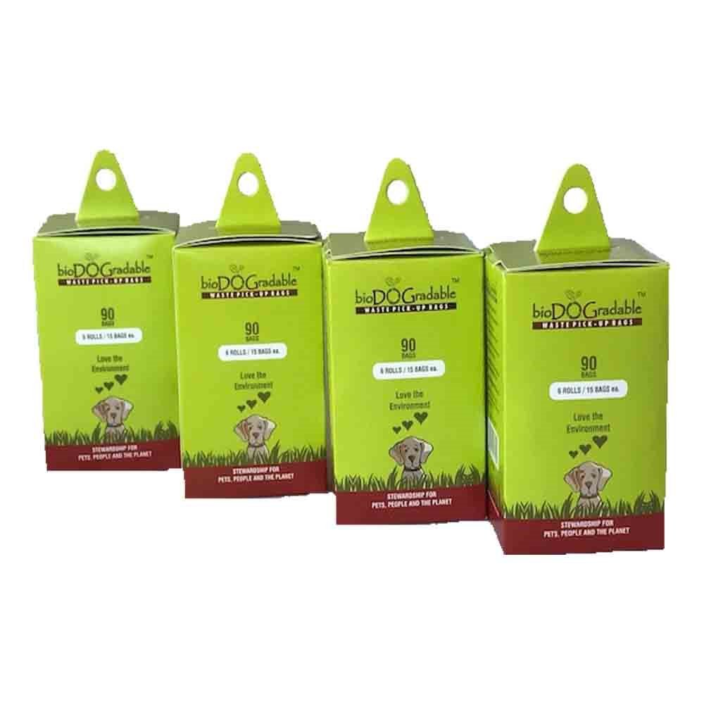 bioDOGradable Dog Waste Bags Certified Compostable and Earth Friendly Not a Plastic Bag (90Bags(4Pack))