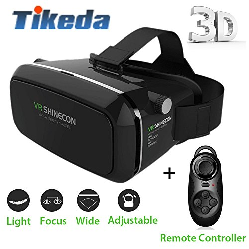 Tikeda-2016 New Version 3D VR Virtual Reality Glasses Headset , Suitable for Google, iPhone, Samsung Note, LG, Huawei, HTC, Moto 3.5-6.0 inch screen smartphone + Bluetooth Remote Controller