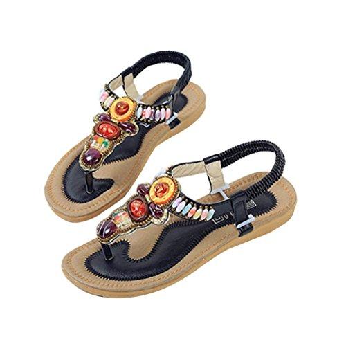 Sandalias de vestir, Ouneed ® Ojotas de mujer Bohemia estilo Retro sandalias Peep-toe ocio baja (36, Beige)