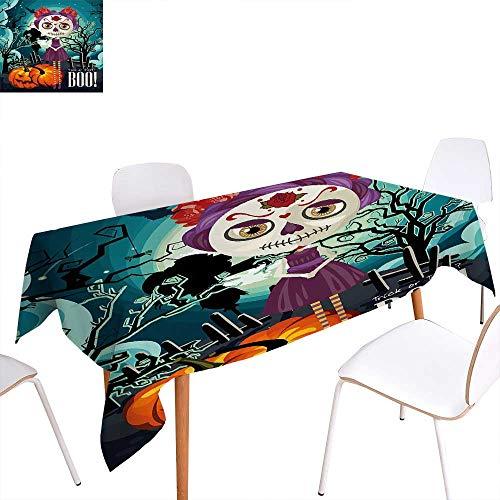(familytaste Halloween Customized Tablecloth Cartoon Girl with Sugar Skull Makeup Retro Seasonal Artwork Swirled Trees Boo Stain Resistant Wrinkle Tablecloth 60