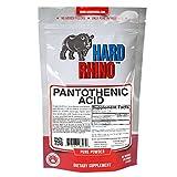 Hard Rhino Pantothenic Acid (Vitamin B5) Powder, 125 Grams (4.4 Oz), Unflavored, Lab-Tested, Scoop Included