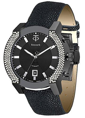Galuchat Watch Strap - TELLUS Discoverer 42 Men's Diamond Watch, Galuchat Strap, Swiss Made - T1064-C222EFC221