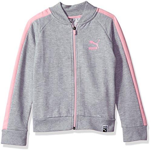PUMA Big Girls' T7 Track Jacket, Light Heather Grey, Large (12/14) Puma Girls Jacket