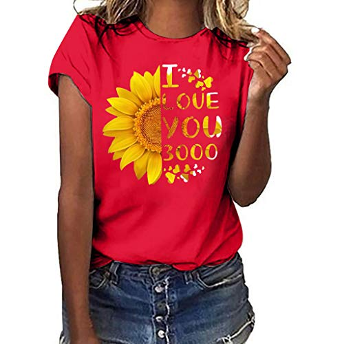 Sunflower Print Clothes Women,LYN Star❀ Summer Short Sleeve Loose Casual O-Neck Floral T-Shirt Tops I Like You 3000 Tops