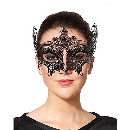 Costume Beautiful Black Metal Lace Mask