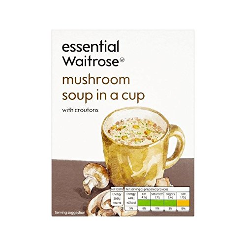 Mushroom Cup Soup essential Waitrose 4 x 24g - Pack of 6