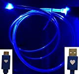 CablesFrLess (TM) NEW Dual LED Light Up Illuminating 3ft Micro USB 2.0 Cell Phone Charging / Computer Data Sync Cable fits Android Tablets and Phones Samsung Galaxy S4, S5, Reverb Note Google Nexus HTC One HD Touch Acer LG Optimus Pantech Blackberry Motorola Moto X RAZR MAXX HD Sony Ericsson Nokia Lumia (BLUE)