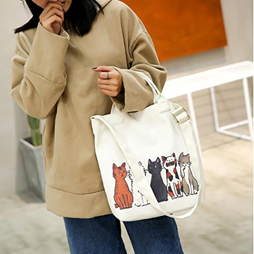 Shoulder Bag Size Cats Women's Beach E Travel Bags Fashion Bag Printed Handbags Bags Large Cartoon Canvas Messenger Tote Femme Casual Bag Bag Shopping Tote UUr7Xx