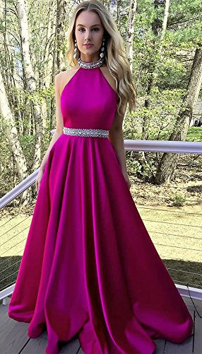 Charming Backless Dressylady Navy Beaded Halter Prom Dress Neck Long Blue High Satin HxxZ1nf