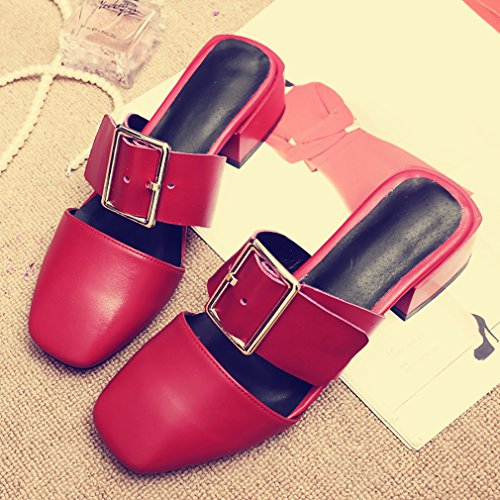 Calaier Para Mujer Cafresh Closed-toe 4cm Block Heel Slip-on Mule Zapatos Rojo