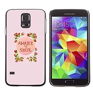 YiPhone /// Prima de resorte delgada de la cubierta del caso de Shell Armor - Awake Soul Inspiring Spring Flowers Peach - Samsung Galaxy S5 SM-G900