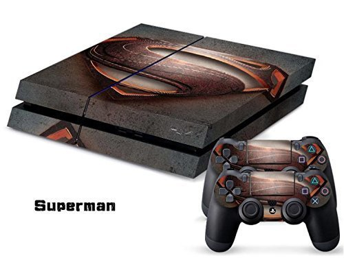 MightyStickers PS4 Console Designer Protective Vinyl Skin Decal Cover for Sony PlayStation 4 & Remote DualShock 4 Wireless Controller Stickers - Justice League Hero Superman of Steel (Steel Reign compare prices)