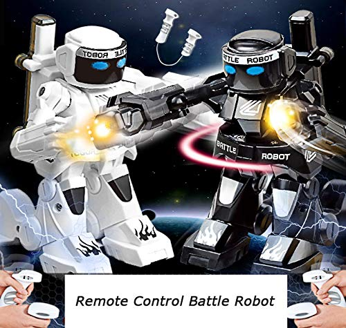 Dulcii RC Battle Boxing Robot/Toys, Remote Control 2.4G Humanoid Fighting Robot, Two Control Joysticks Real Boxing Fight Experience (Black & White) by Dulcii (Image #4)