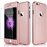 full body protector for iphone 6 - iPhone 6/6S Case, Jwest Thin Full Body Protection Premium Matte Finish Dual Layer Hard Case for iPhone 6 with Tempered Glass Screen Protector for iPhone 6/6S 4.7 [Rose Gold]