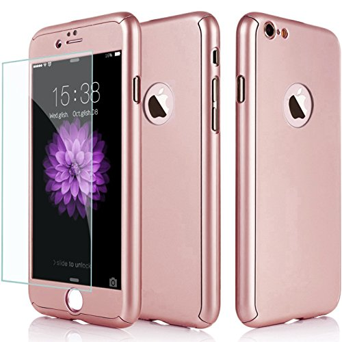 iPhone 6/6S Case, Jwest Thin Full Body Protection Premium Matte Finish Dual Layer Hard Case for iPhone 6 with Tempered Glass Screen Protector for iPhone 6/6S 4.7 [Rose Gold]