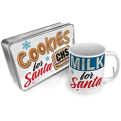 (NEONBLOND Cookies and Milk for Santa Set Airportcode CHS Charleston, SC Christmas Mug Plate)