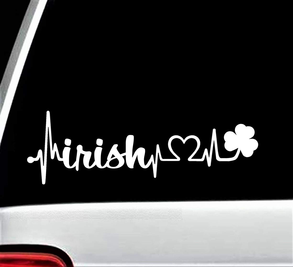 Irish Shamrock Heartbeat Lifeline Decal Sticker for Car Window BG 127