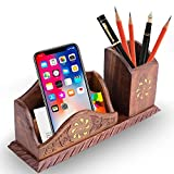 Beautiful Indian Handcrafted Wooden Office Table Desktop Mobile Phone Holder Pen and Paper Note Holder Office Desk Accessories 10 Inch