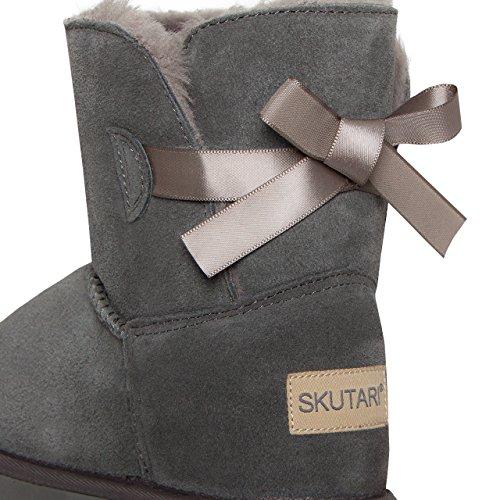 SKUTARI Mädchen Boots Single Bow - Wildleder, Gefüttert, Schleife Grau/5017