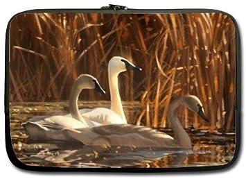 Alta calidad Cisne Blanco tradicional chino pintura pintura resistente al agua neopreno funda para portátil 15 pulgadas Bolsa de ordenador portátil carcasa ...