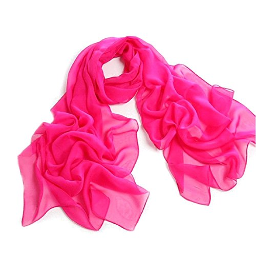 Fashionable Solid Color Chiffon Scarf - - Chiffon Magenta