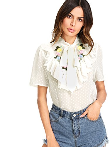 WDIRA Women's Tie Neck Flower Embroidered Dot Jacquard Regular Fit Top Blouse White S - Embroidered Jacquard Shirt